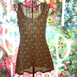 Modcloth floral tank top braided back tunic